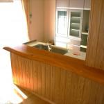 ケヤキ板のキッチンカウンター